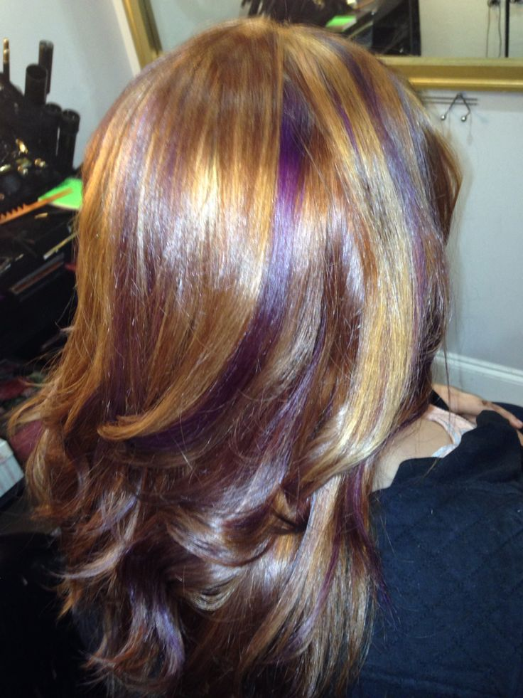 Brown hair with blonde and purple highlights  Hair  Pinterest  Brown hair with blonde Brown