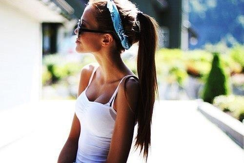 Simple #beautiful #bandana #girl #ponytail RRR Pinterest