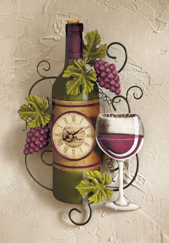 vineyard kitchen decor cute aprons wine bottle wall clock grapes vino country bar ...