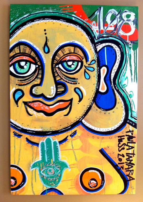 Big Buddha Original Buddhist Zen Yoga Abstract Graffiti Pop Art Painting On Canvas Size 36