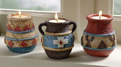 Southwest Adobe Pottery Tealight Candle Holders  cute