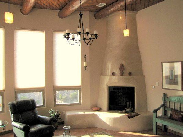 Southwest Kiva Fireplace w Diamond Plaster Finish  Kiva