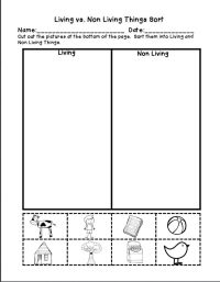 Living And Nonliving Things Worksheets For Kindergarten