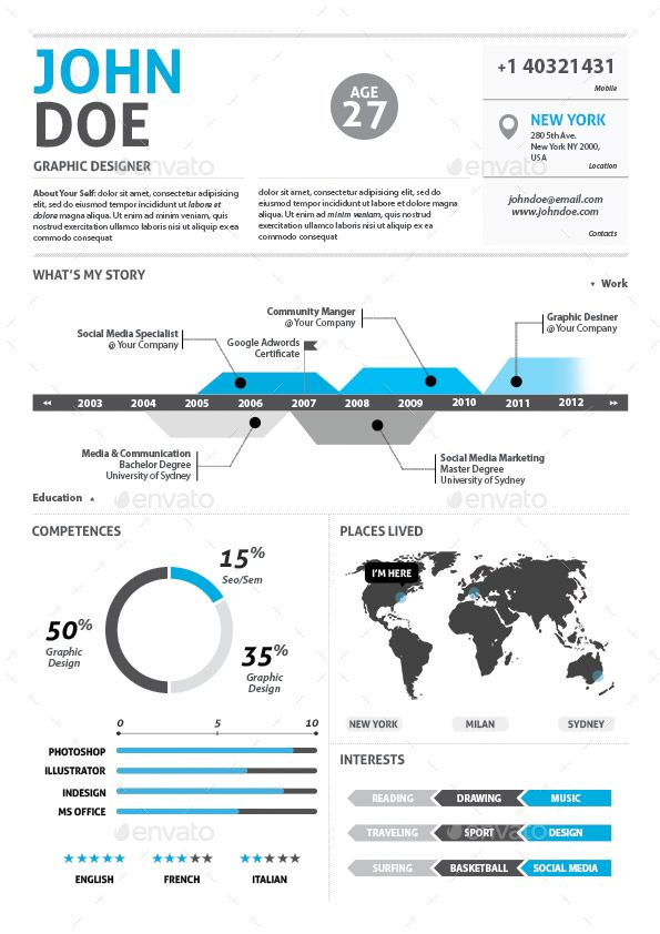 John Doe Infographic Resumes Pinterest