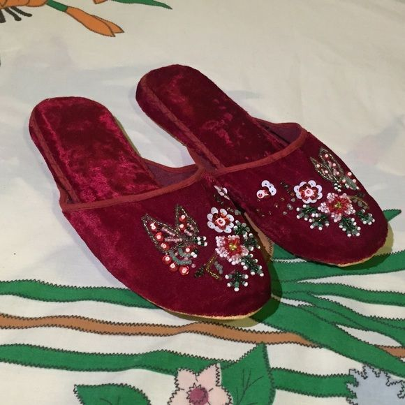 Chinese red velvet slippers beautiful beading w soft velvet touch Vintage Shoes Slippers  My