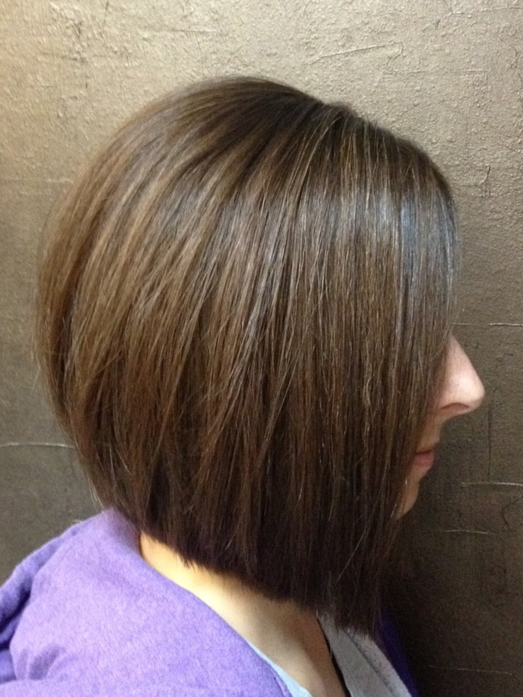 Slight Inverted Bob With Long Layers Color Is A Warm
