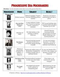 Progressive Era Muckrakers Chart and Worksheet | Charts ...