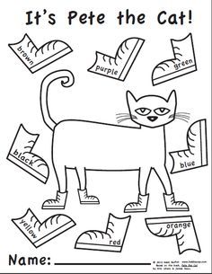 Pete the cats, Free printables and Cat outline on Pinterest