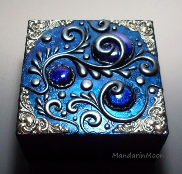 Custom Wood box with Polymer Clay Top by MandarinMoon on