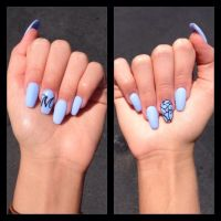 Coffin Nails Ballerina Nail Style Blue Sky blue Baby blue ...