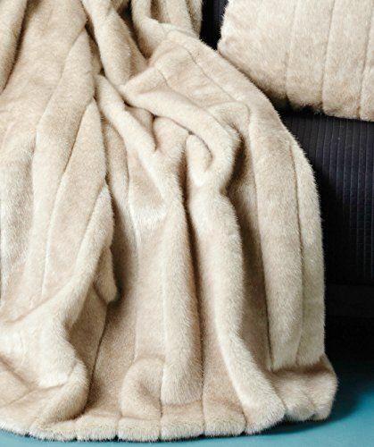 Tahari Mink Faux Fur Throw Luxury Silky Soft Blanket in