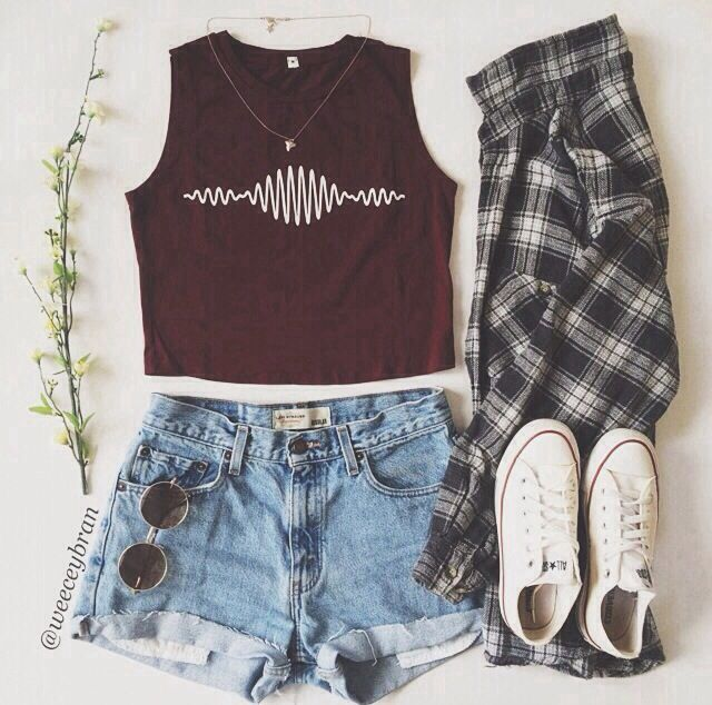 arctic monkeys tank top, flannel shirt, white converse, basic shorts, round sunglasses.
