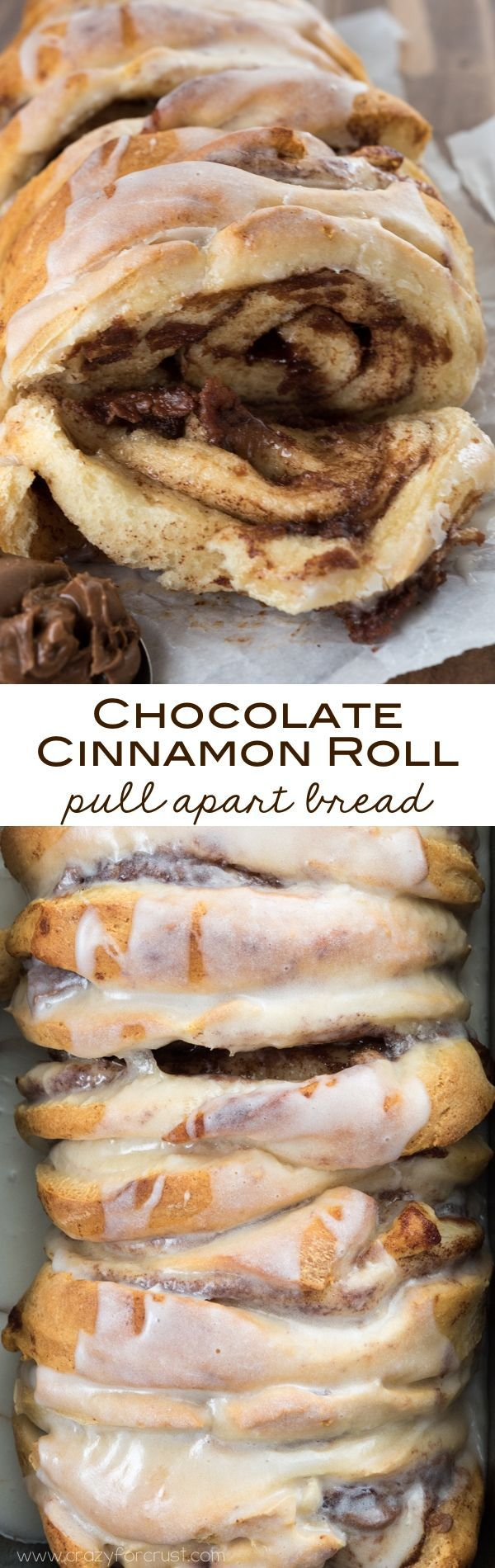 Chocolate Cinnamon Roll Pull Apart Bread with only 2 ingredients! An easy breakfast recipe on the table in