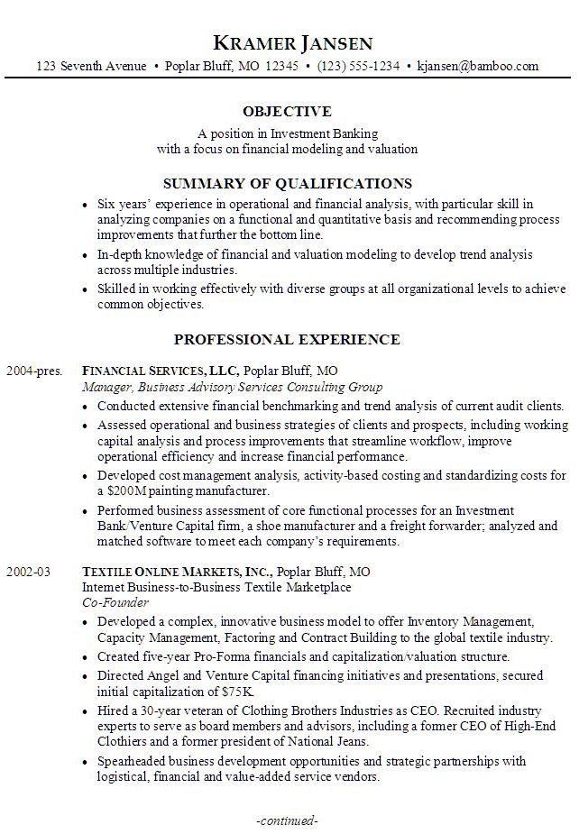 Sample Resume for someone seeking a job in Investment Banking with a focus on Financial Modeling