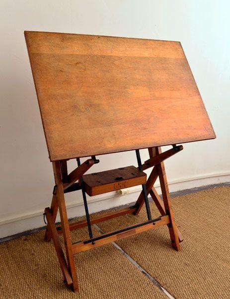 Table  dessin ou table architecte tout en bois premire partie XX Contrepoids et axes en