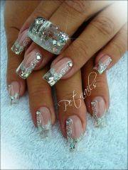 pretty lace & diamond nails
