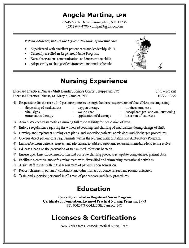 Resume Sample Resume For Enrolled Nurses Examples Of Nurses Resumes 7 Best  Images On Pinterest
