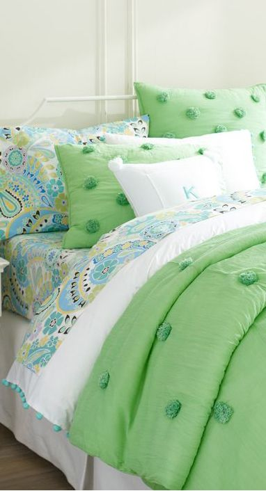 Mint Green Crinkle Puff Quilt great for a girls room or a