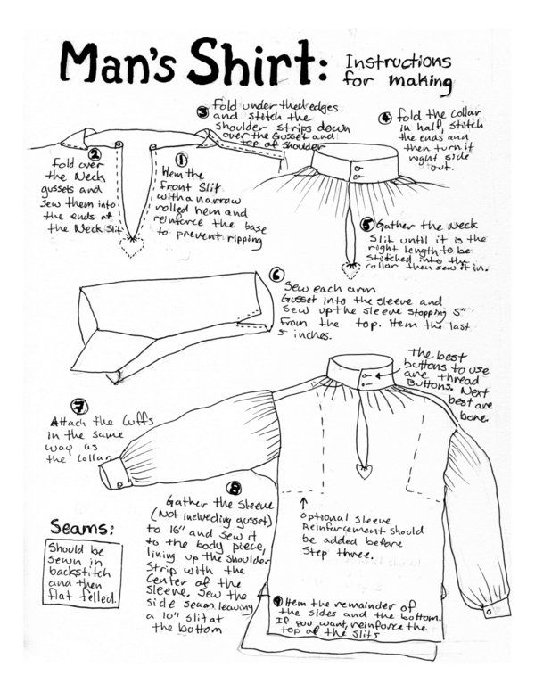 18thC Man's Shirt Instruction by ~Goldenspring on