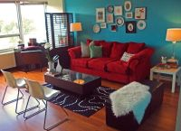 red sofa teal accent wall | Home ideas | Pinterest | Teal ...