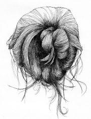messy bun drawing