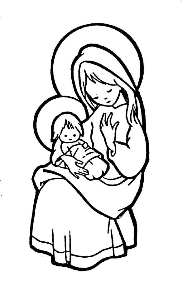 Mary pondered these things in her heart. Catholic Coloring