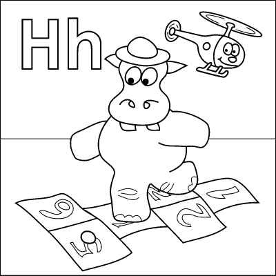 Letter H coloring page (Hippo, Hopscotch, Hat, Helicopter