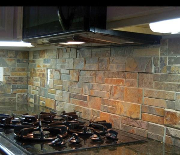"rustic kitchen with stone backsplash Rustic kitchen back splash using ""Terracotta"" stack/ledge"