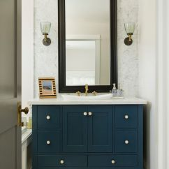 Navy Kitchen Cabinets Commercial Grease Filters Powder Room With Teals Cabinet, Black Framed Mirror, White ...