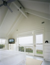 painted white wood beams and plank ceiling. The color ...