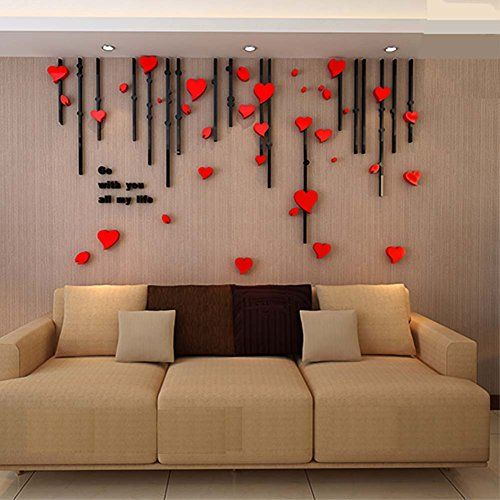 3d Heart Curtain Wall Murals for Living Room Bedroom Sofa