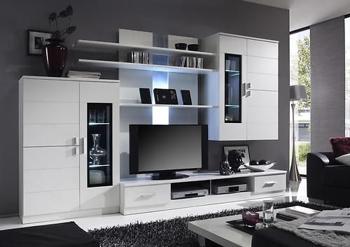 Echotwo Modern contemporary wall unit entertainment center off white  Modern contemporary