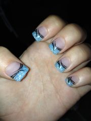 baby blue sparkle acrylic nails