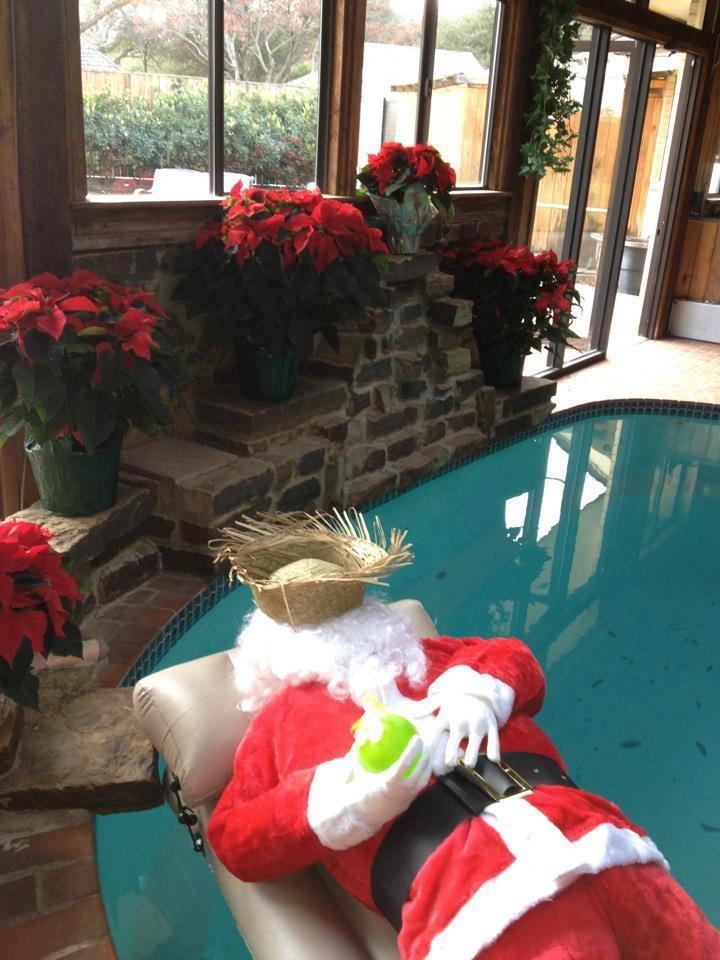 Holiday Pool Decorating Santa Kickins Back Holiday