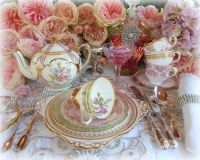 elegant tea party table setting   vintage and antique ...