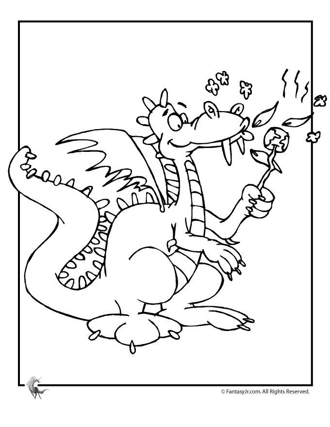 Cartoon Dragon Toasting Marshmallows Coloring Page