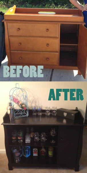 Before and After Convert a baby changing table into dry bar  Make it yourself  Pinterest