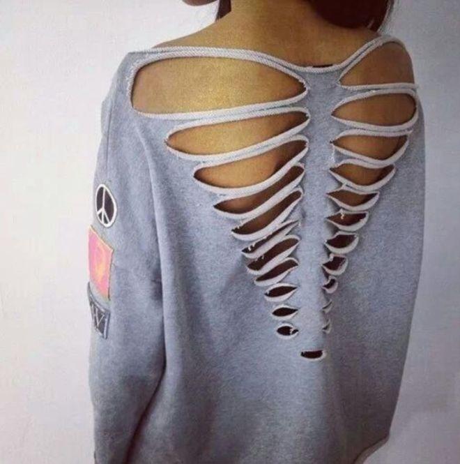 Diy tshirt cutout design rib cage fashion