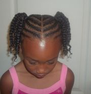 cornrowed ponytails with two strand
