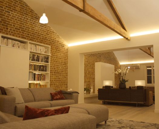 Interior pitched ceiling lighting