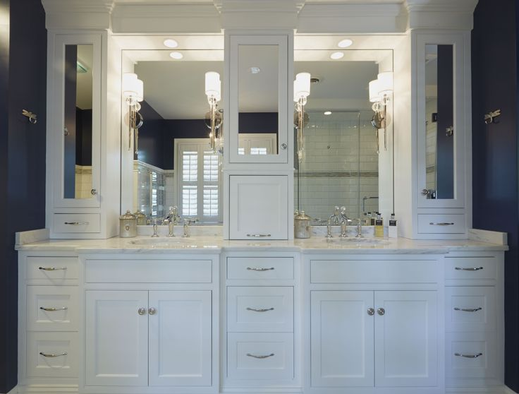 White vanity Upper cabinets and Vanities on Pinterest