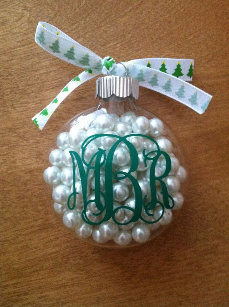 clear ornament with pearls and monogram – this would be a perfect exam gift or for a BTS event