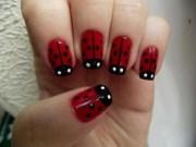lady bug nails. finger paint