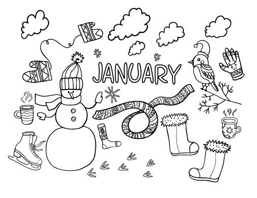 Printable January coloring page. Free PDF download at http