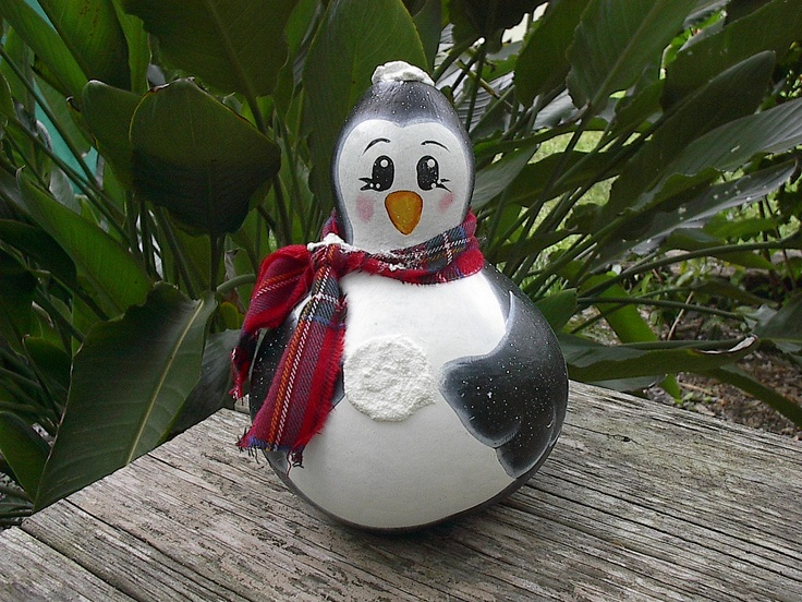 Penguin Painted Gourd Art Winter Decor By NatsKreations On