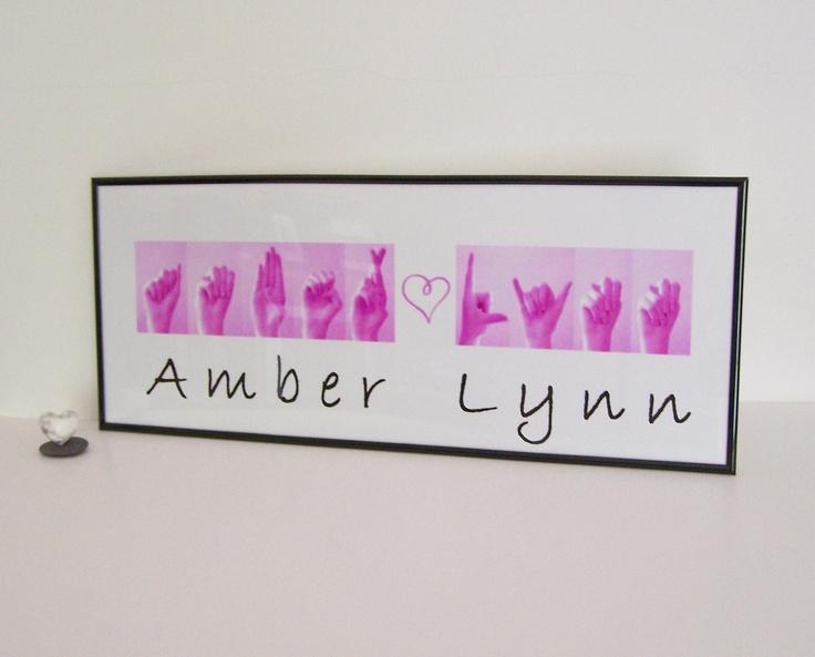 Asl alphabet names sign language custom order baby gift
