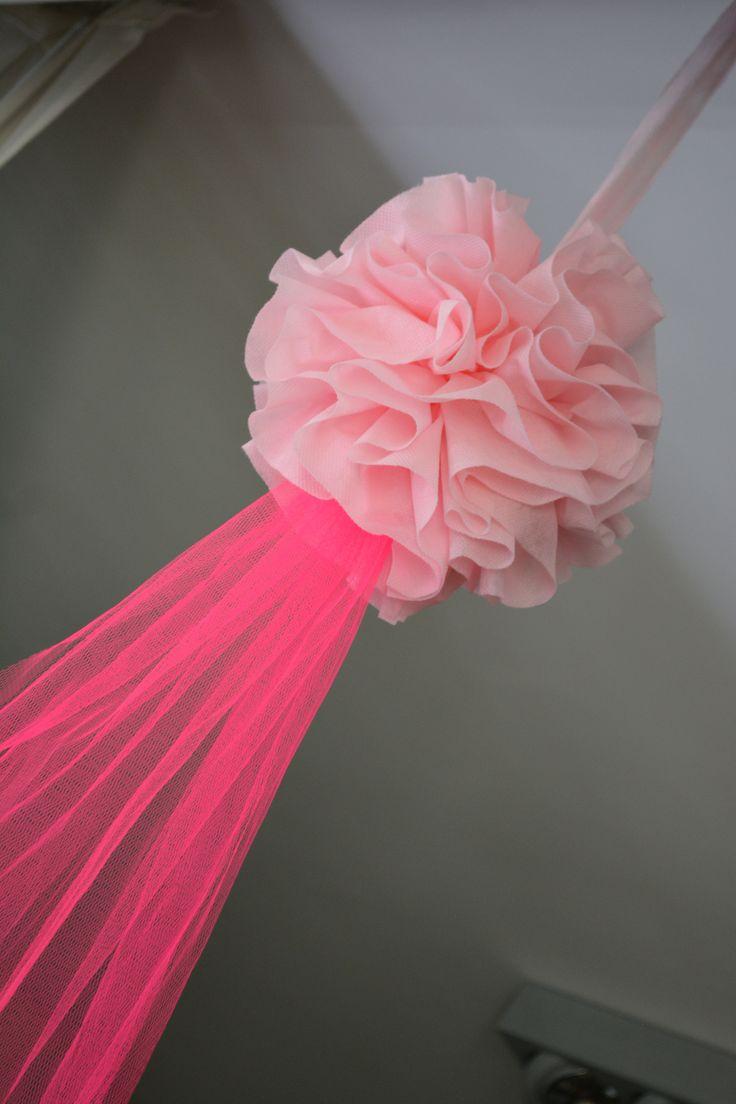 Pompones de tela con Tul  Pompones by Flower  Pinterest