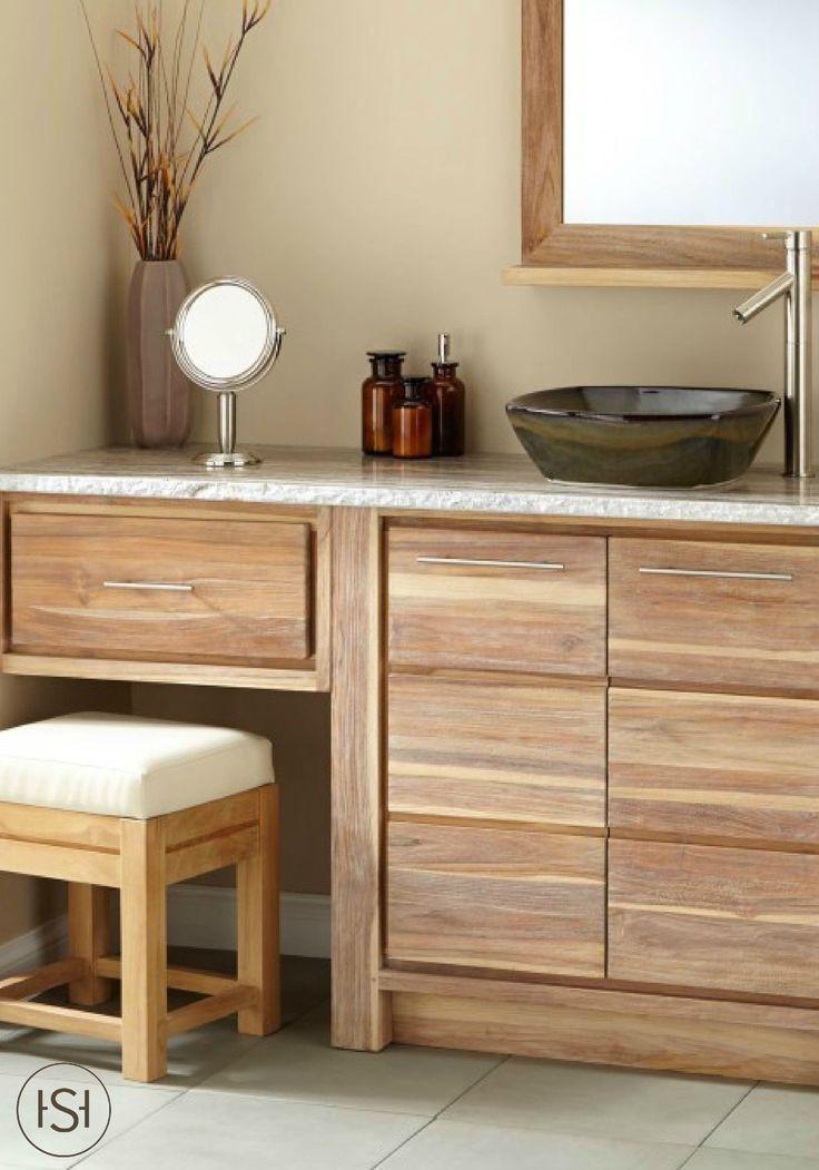 72 Benoist Reclaimed Wood Double Vanity for SemiRecessed Sink  Pine  Teak Vessel sink