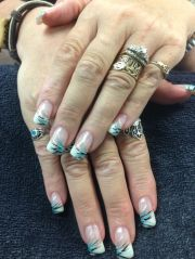 mandy's nails. black teal and silver