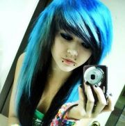 blue and black scene hair